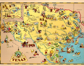 1930's Vintage Texas Picture Map State Cartoon Map Print Gallery Wall Art Map Collector Gift for Traveler Wedding Birthday Gift RT