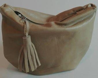 Leather YELLOW clutch/handbag