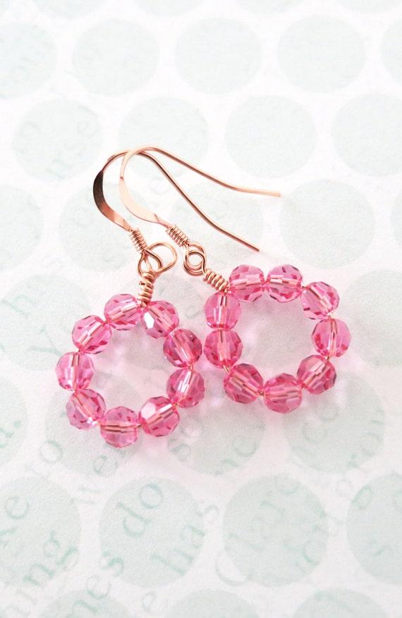 Swarovski Montana Blue rose gold Earrings - rose gold filled earrings, something blue, best friends, happy loop, beach wedding bridesmaid