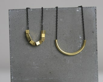 Black and Gold Geometric Necklace | Minimalist | Geometric | Gift |