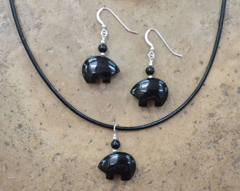 Zuni Fetish style Black Onyx Bear Earrings & Necklace SET, beaded with Sterling Silver