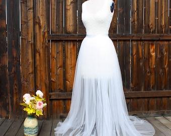 Detachable Bridal Skirt, Wedding Overskirt, Tulle Overskirt, Detachable Tulle Skirt