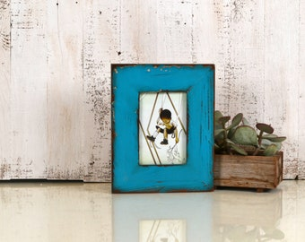 "4x6 Picture Frame 2.25"" Roughsawn Reclaimed Wood with Super Vintage Turquoise Finish - IN STOCK Same Day Shipping - 4 x 6 Rustic Frame Blue"