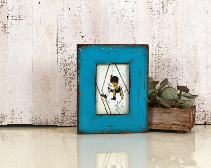 """4x6 Picture Frame 2.25"""" Roughsawn Reclaimed Wood with Super Vintage Turquoise Finish - IN STOCK Same Day Shipping - 4 x 6 Rustic Frame Blue"""