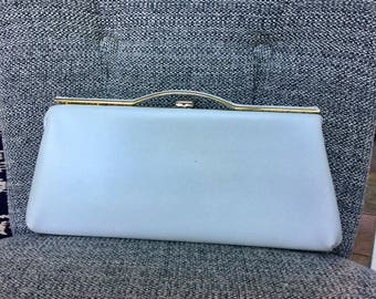 White Vintage Clutch - White Clutch with Gold Clasp - White and Gold - Holiday Purse - Evening Bag - Winter Accessories - Midcentury Clutch