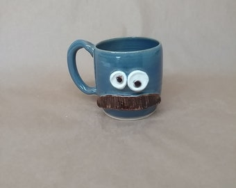 Debonair Mustache Mug Blue Coffee Cup Hilarious Mustache Lover Stoneware Pottery Funny Mustaches for Him Face Mug Mans Big Handle Coffee Cup