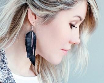 Black Feather Earrings, Leather Feather Earrings, layered earrings, tribal, Boho chic, fringe, Genuine Leather, long earrings