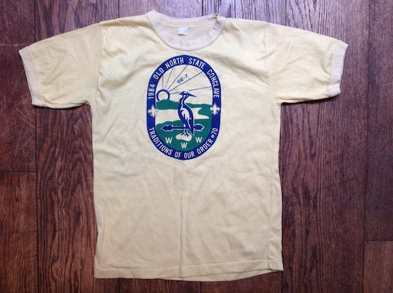 "Vintage 1980s 80s pale yellow tshirt t shirt 35"" chest Old North State Conclave scouts print unisex mens womens"