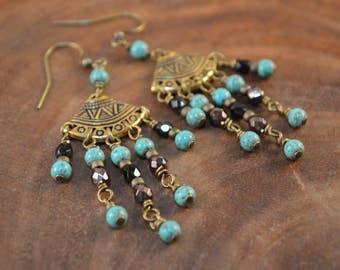 Bohemian Earrings, Boho Chandelier Earrings, Czech Glass, Black Earrings, Turquoise Earrings, Long Beaded Earrings, Boho, Bohemian Jewelry