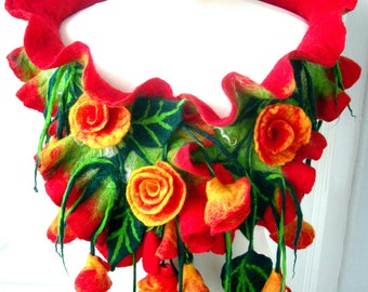 hand Felted, wool Jewelry felted woman ART scarf-- RED ROSES  --