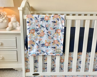 Peach and Navy Floral Baby Bedding, Crib Bedding Navy, Mint, Gold, Floral Changing Pad Covers, Peach and Mint Crib Rail Guards, Crib Sheets