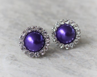 Purple Earrings, Purple Bridesmaid Jewelry, Bridesmaid Earrings Gift, Stud Earrings, Purple Jewelry, Silver or Gold Setting