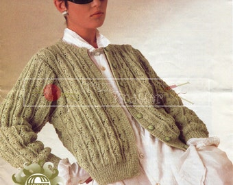 "Lady Cardigan 32-42"" DK Sirdar 6777 Vintage Knitting Pattern PDF instant download"