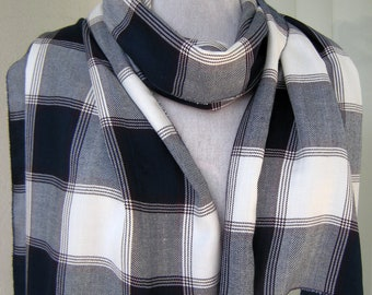 White Navy Blue Plaid Rayon Scarf/ Wrap