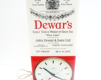 Vintage Dewar's Scotch Whisky SMITHS Advertising Clock, English, Electric, c.1950's, REF:229G