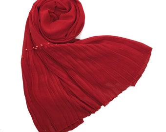 Premium Chiffon scarf with One Sided Pleated border and Pearls - Red