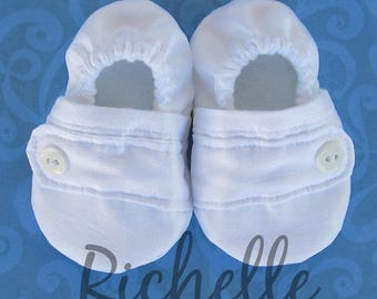 White Baby Boy Shoes Baptism Blessing Christening Special Occasion Dressy Satiny Shimmery Shiny Soft Sole Crib Shoes Outfit, Infant, Toddler