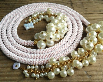 Creamy white beaded lariat necklace – long crochet seed bead lariat necklace – beaded rope necklace with pearl tassel