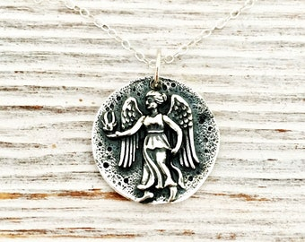 Angel Necklace - guardian angel - sterling silver jewelry - gift for her - daughter - travel gift