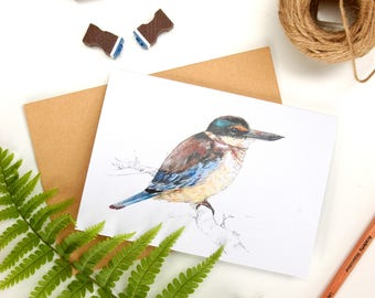Kingfisher - Kotare folded card from the New Zealand native birds series by Emilie Geant, from original watercolor painting