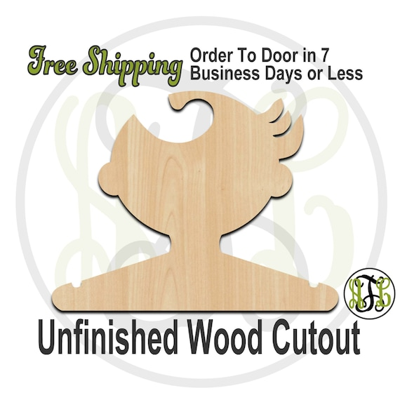 Boy Swoosh Closet Hanger - Adult or Child Size Cutout, unfinished, wood cutout, wood craft, laser cut, wood cut out, DIY, Free Shipping