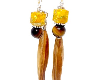 Silver earrings 925 eyelet India, Tiger's eye and feather beads