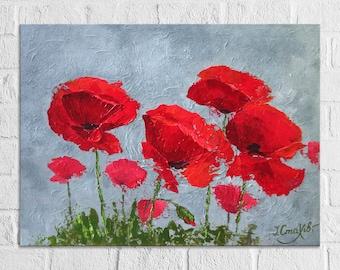 Poppy Painting on Canvas Red Gray Textured Wall Art Flowers Painting Abstract Poppy Painting Poppies Impasto Flower Wall Art Original Art