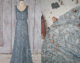 Bridesmaid Dress Dusty Blue Sequin Dress,Wedding Dress,V Neck Fitted A-line Party Dress,Sleeveless Maxi Dress,Long Luxury Prom Dress(HQ673)