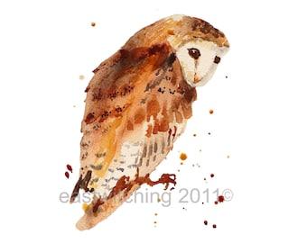 Imprimer aquarelle chouette, hiboux, cadeau amoureux chouette, hibou, peinture, décoration enfants, aquarelle peinture