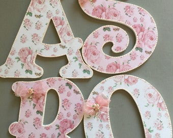 shabby chic toy box wooden letters~pink roses~nursery room decor~baby shower~baby gift~home decor~