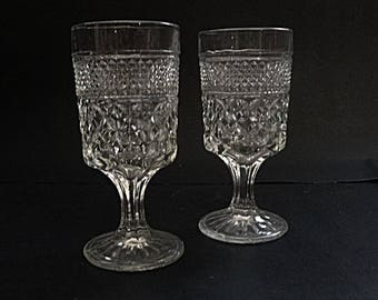"Wexford Water goblets,  8 ounce wine glass, Pair of 6 5/8"" ANCHOR HOCKING Wexford pressed glass pattern"