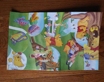 """Winnie The Pooh Fun Butterflies Handmade 11"""" by 17"""" Collage Poster"""