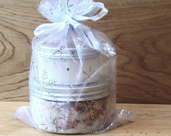 Spa Set For Women, Pamper Gift, All Natural Jasmine & Rose Bath Salts, Body Butter Gift for Her, Spa Gift Set, Bridesmaid Spa Kit