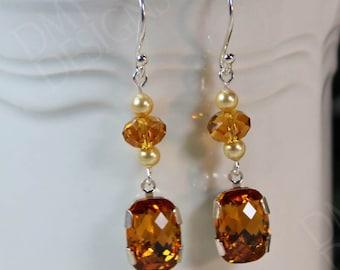 Vintage Elegance Earrings in Topaz Crystal