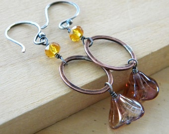 Golden Yellow Copper Sterling Silver Earrings Oval Link Iridescent Pink Bell Flower Artisan Jewelry