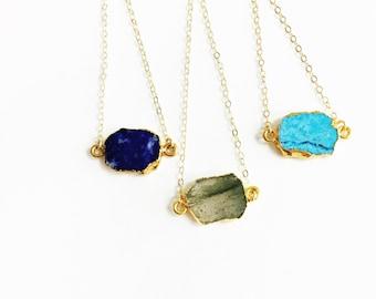 Dainty Gemstone Necklace, Dainty Necklace, Gem Slice Necklace, The Silver Wren Jewelry, Boho Necklace, Dainty Necklace, Bridesmaid Gift