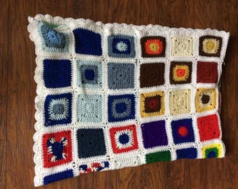 """Vintage Retro Bohemian Hand Knit Crochet Granny Squares Colorful Afghan Sweater Quilt Blanket 66"""" x 80"""""""