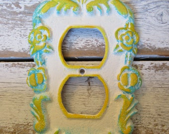 Blue Yellow White Floral Outlet Cover Flower Style Decorative Cast Iron Outlet Cover with Matching Screw Turquoise Blue Lemonade Yellow H-6