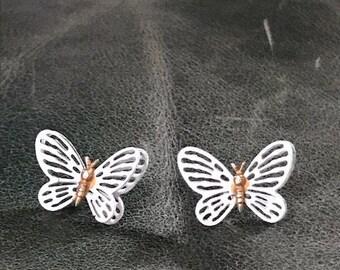 Vintage Butterfly Earrings, Butterfly Studs, Pierced Earrings, Butterfly Jewelry, Butterflies, Post Earrings, White Earrings, Gold Posts