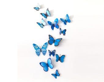 12 butterflies, 3D, blue