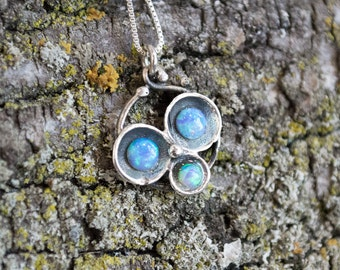 Cluster pendant, silver chain, simple necklace, Blue opals necklace, sterling silver necklace, casual boho necklace - Into the Night N4501