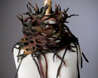 Hand Felted wool scarf Unearthed, Roots and branches scarf by VitalTemptation, Handdyed, Handpainted felt scarf