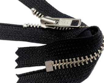 NICKEL Exposed Zipper YKK #5 Nickel Metal Zipper Closed Bottom Black ~Pick your length~ZipperStop Wholesale Authorized Distributor YKK®