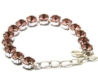 Tennis Bracelet with 8mm Vintage Rose Crystals  made with Swarovski Crystal Elements. Bracelets by Lady C