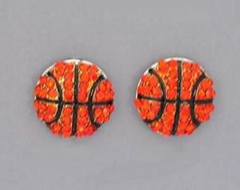 Basketball  Rhinestone Post Style Earrings
