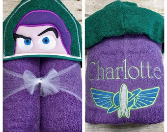 Toy Story Buzz Lightyear Inspired Hooded Towel/ Toy Story Pool Towel/ Disney Inspired Hooded Towel/ Buzz Lightyear Beach Towel/ Personalized