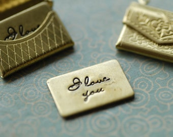6pcs love you forever raw brass little tags no holes
