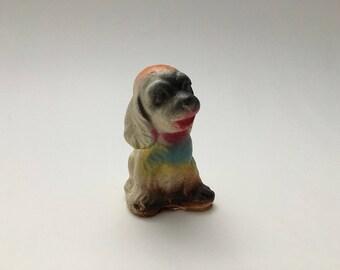 Vintage chalkware dog figurine, chalkware dog, small chalkware dog, chalkware puppy, chalkware figurine, carnival chalkware, chalkware prize