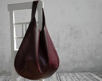 Deep Burgundy Leather Hobo Bag/Large Hobo Bag/Big Hobo Bag/READY TO SHIP