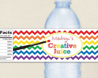 Art Party - Art Birthday Party Water Labels, Paintbrush - 100% waterproof personalized water bottle labels